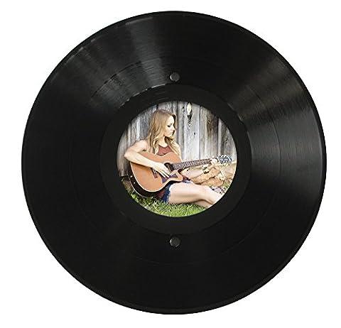 Runder LP Bilder-Rahmen aus echter Vinyl-Schallplatte mit rundem Bildausschnitt 11,5 cm Durchmesser, Aufhängung im Hoch- und Querformat, Ø 30cm, Farbe: schwarz, Upcycling by