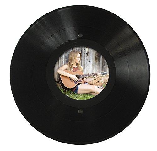 Runder LP Bilder-Rahmen aus echter Vinyl-Schallplatte mit rundem Bildausschnitt 11,5 cm Durchmesser, Aufhängung im Hoch- und Querformat, Ø 30cm, Farbe: schwarz, Upcycling by JamOnMedia
