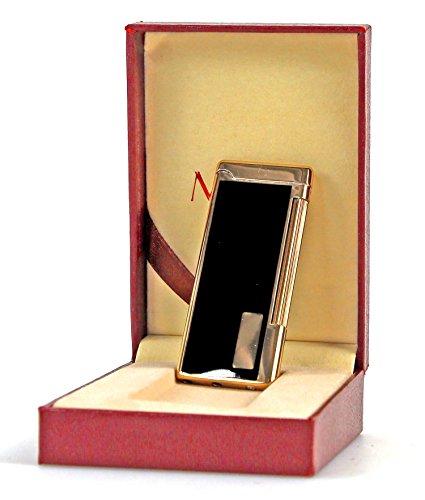 Nick and Ben Luxus Gas-Feuerzeug Paris Schwarz-Gold Slim Extra Flach Normalflamme in hochwertiger Geschenkbox aus weinrotem Kunstleder