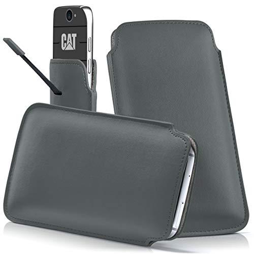 moex Cat B30 | Hülle Grau Sleeve Slide Cover Ultra-Slim Schutzhülle Dünn Handyhülle für Caterpillar Cat B30 Case Full Body Handytasche Kunst-Leder Tasche