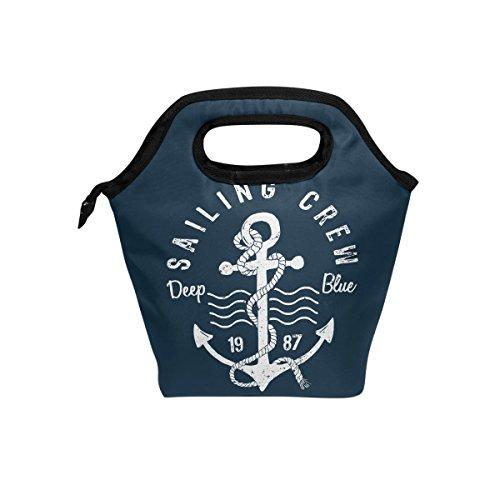 hunihuni Ocean Sea Maritim Anker Muster Isolierte Thermo Lunch Kühltasche Tote Bento Box Handtasche Lunchbox mit Reißverschluss für Schule Büro Picknick