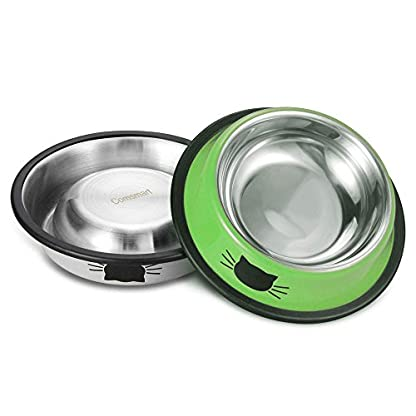 Comsmart Cat Bowl, Anti-slip Cat Food Bowl/Cat Feeding Bowl/Cat Water Bowl, Multi-purpose Double Pet Feeding Bowl (White… 3