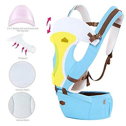 41f4V8OwFrL. SS416  - GBlife Mochila Portabebé 5 en 1 de Diseño Ergonómico Ajustable Portadores Marsupios para Recién Nacidos/Bebé