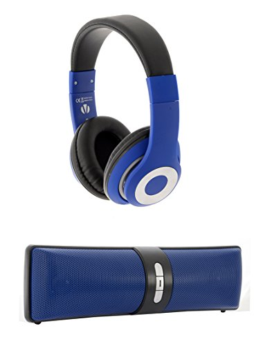 f5cd401f10a Vivitar VHPS15317-BLU-INT Wired Headset with Bluetooth Speaker, Charger for  MP3 / MP4 Player / iPod / Smartphone / iPhone / Tablet / iPad - Blue