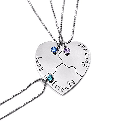 Bold N Elegant - Be Bold Inside & Elegant Outside Silver Plated BFF Pendant Chain Necklace for Men and Women - Combo of 3