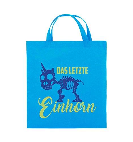 Comedy Bags - Das letzte Einhorn - SKELETTE - Jutebeutel - kurze Henkel - 38x42cm - Farbe: Schwarz / Weiss-Neongrün Hellblau / Hellgrün-Royalblau