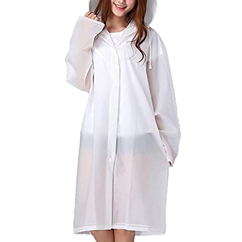 Femmes Raincoat portable avec manches longues et à capuchon écologique EVA Fashion Translucide extérieure Rainwear Voyage Veste de pluie imperméable à l