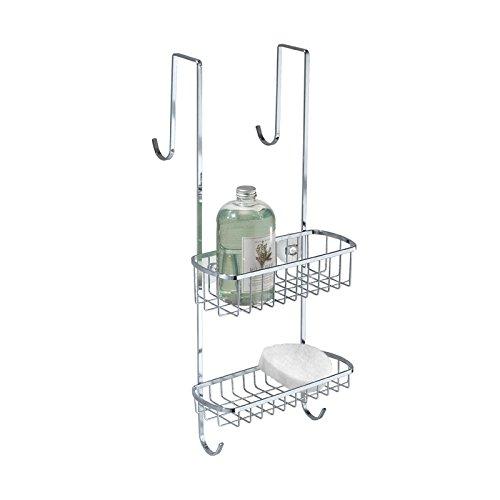mDesign – Organizador de ducha para colgar sobre la mampara – Práctico estante para ducha de acero inoxidable pulido – Cesta de ducha sin taladro para tus productos de higiene personal