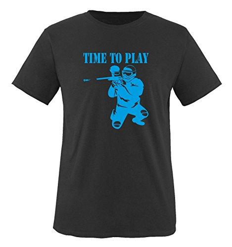 TIME TO PLAY - PAINTBALL - Herren Unisex T-Shirt Schwarz / Blau