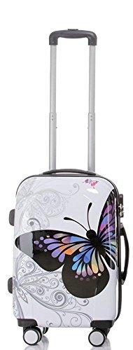 set di fino a 4 valigie bagaglio trolley vanity case abs policarbonato rigido leggero 4 ruote 360° con motivo BB (Farfalla, M)