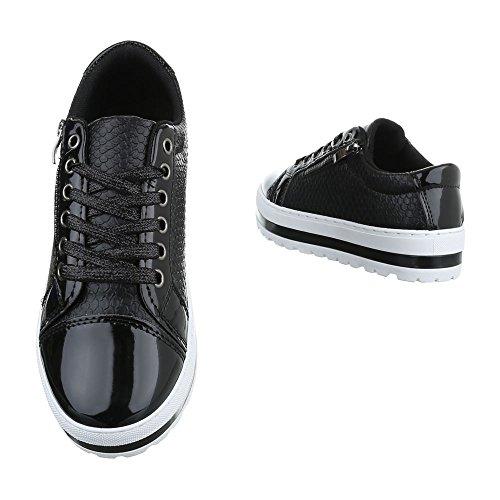 Low-Top Sneaker Damenschuhe Low-Top Sneakers Schnürsenkel Ital-Design Freizeitschuhe Schwarz KB-005