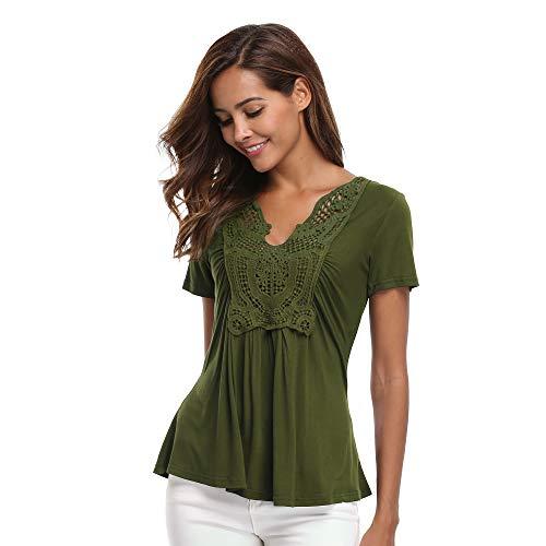 Miss Moly Blusen und Tops für Damen Hemden Klassischer tiefer V Tops mit kurzen Ärmeln Geraffte Vorderseite Plain Army Green - XS