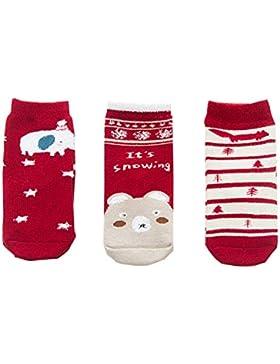 Aikowener 3er Pack Unisex Baby Kinder Winter Baumwolle Warm Socken Bunt Gemustert Christmas Socks (1-12 Jahre)