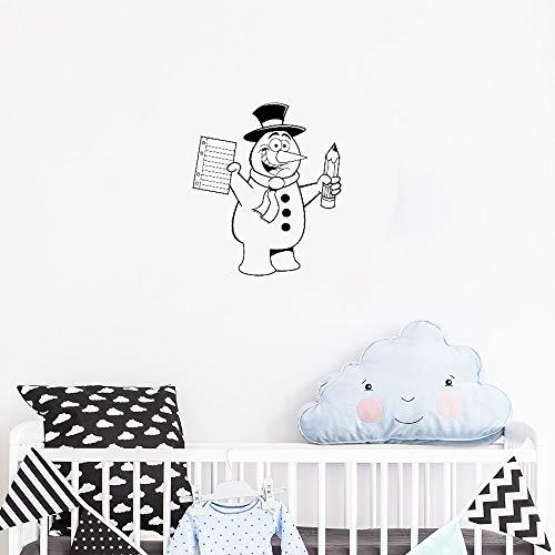 Modeganqingg Kinderzimmer wandaufkleber Dekoration Applikation wandbild Kunst Muster schneemann wintermütze Bleistift schal kinderzimmer wandtattoo niedlich schwarz 42 cm x 50 cm