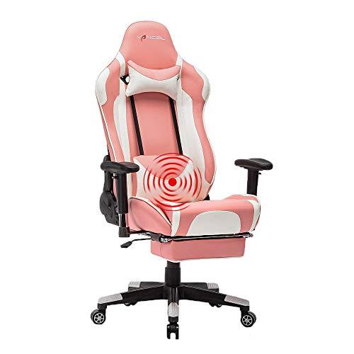 EVANCEL Gaming Stuhl in E-Sports Racing Style Massage Teillenkissen Computerstuhl Ergonomisches Design schwenkbarer mit Verstellbaren Armlehnen und Fußstütze, Wippfunktion mit PU Leder (Rosa)