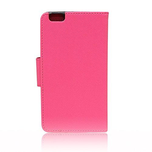 VComp-Shop® Kunststoff Handy Brieftasche mit Kartenfächer und Video-Standfunktion für Apple iPhone 6/ 6s + Großer Eingabestift - PINK PINK + Großer Eingabestift