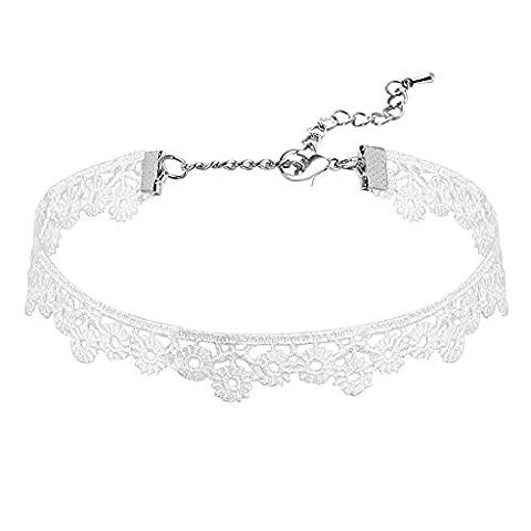 AnaZoz Gotisch Elegant Frauen Weiß Samt, Blume Elastisch Spitze Chunky Choker Halsketten für Damen