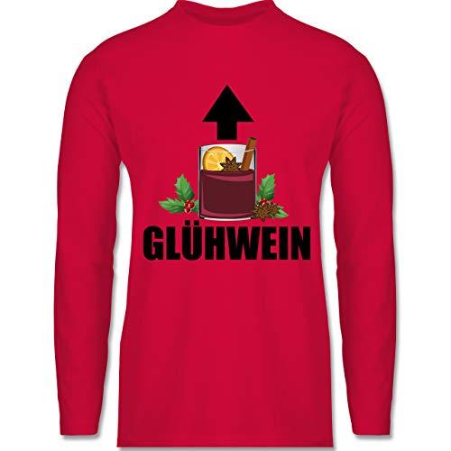 Weihnachten & Silvester - Glühwein Pfeil - schwarz - XL - Rot - BCTU005 - Herren Langarmshirt