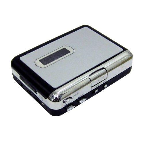 L26 USB MP3 Kassetten Player MC Digitalisierer Konverter Recorder Adapter Musik, Konvertieren Sie einfach und schnell von Kassette zu MP3 direkt auf den PC, Vor- und Rücklauf-Funktion, Betriebsysteme: Windows XP/Vista7, Mac OS x(Mac operation requires download of free software), Stromversorgung über USB oder 2x AA Batterie(nicht im Lieferumfang), Gewicht: 170g, Farbe Silber
