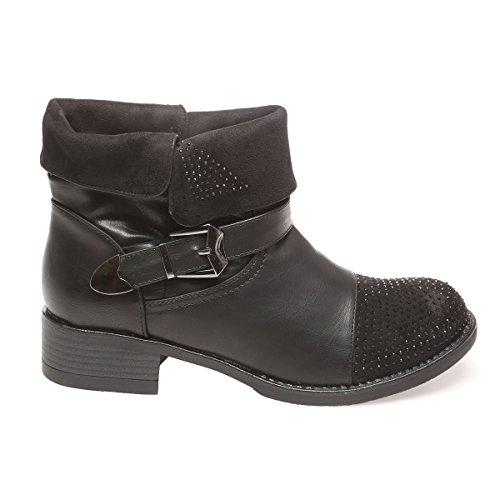 La Modeuse - Bottines en simili cuir avec empiècement aspect daim sur le revers et l'avant de la chaussure Noir