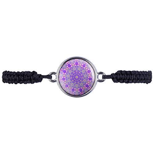 Mylery Armband mit Motiv Kaleidoskop Caleidoscope Bunte Farben Abstrakt Muster Nr. 9 Silber 16mm -