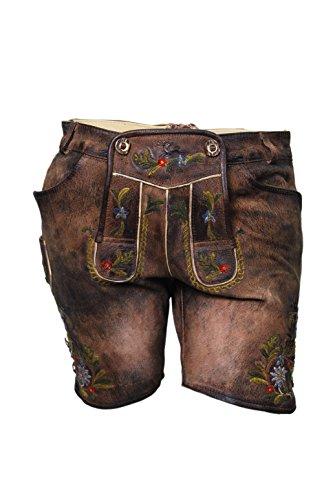 Kurze Damen Ziegenlederhose, bunte Stickerei, Wiesn Lederhose, echtes Leder, knackig, kurz (44)