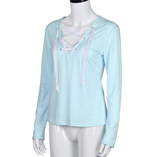 ... Bekleidung Longra Damen Mode Bluse T-Shirt Hemd Oberteile Casual  Bandage Langarm Shirt Tops Blue ...