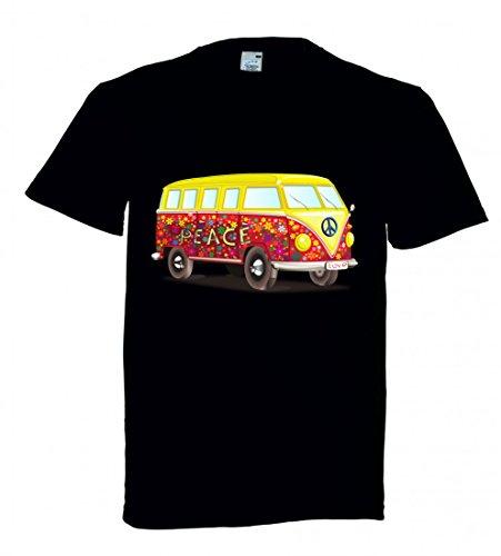 Freiheit Schwarzes T-shirt (T-Shirt Auto- Bus- MOBIL Home- Camping- Urlaub- SECHZIGER Jahre- Freiheit- WOHNMOBIL Van- 70ER Jahre- Fahrzeug in Schwarz für Herren- Damen- Kinder)