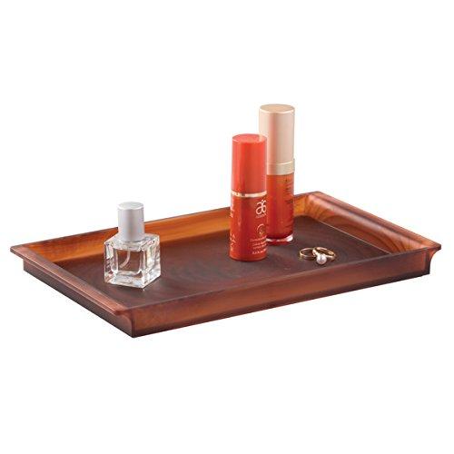 mDesign Badezimmer Tablett – zur stilvollen Kosmetik Aufbewahrung, für Gästehandtücher, Parfüm, Schmuck etc. – braun (Appliance Viele)