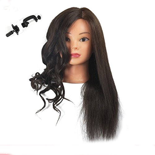 Training Head 100% Real Human Hair Cosmetology Hairdressing Mannequin Manikin Doll (Table Clamp Holder Included) Test