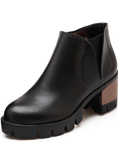 De Outro Feminina Outono Botas Primavera Shangyi Calcanhar Saltos Inverno Femininos Preto De Ocasional Imitação Sapatos Couro Moda nBOfP0B