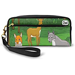 Pencil Case Pen Bag Pouch Stationary,Forest With Cartoon Animals With Names Educational Intellectual Fun Kids Game,Small Makeup Bag Coin Purse