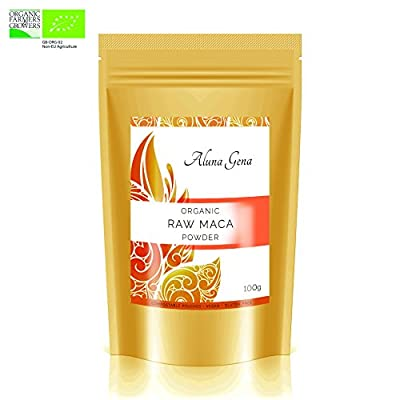 Organic Raw Maca Powder by Aluna Gena - 100g - **NEW COMPOSTABLE STAND UP POUCHES** Premium Quality & Sustainably Grown in the Mountains of Peru. Certified by The Organic Farmers & Growers. from Aluna Gena