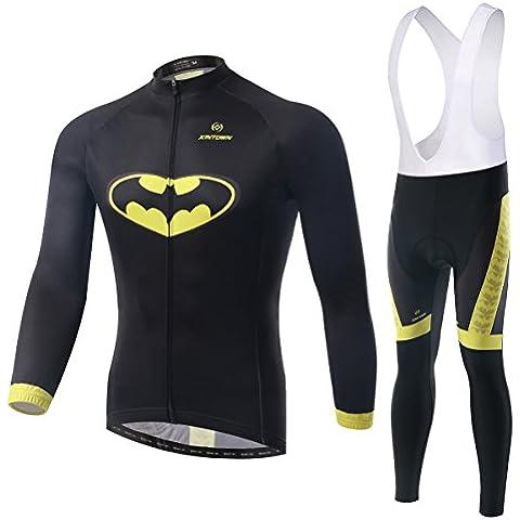 Inverno uomo ciclismo maglia pipistrello modello lungo manica 3D imbottito Bib Pants Set, Outdoor caldo pile abbigliamento sportivo , xxl