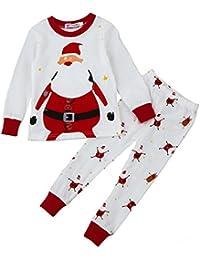 QUICKLYLY 2pcs Navidad Pijamas para Niña Niño Conjuntos de Ropa Santa Tops +Pantalones 2~7 Años
