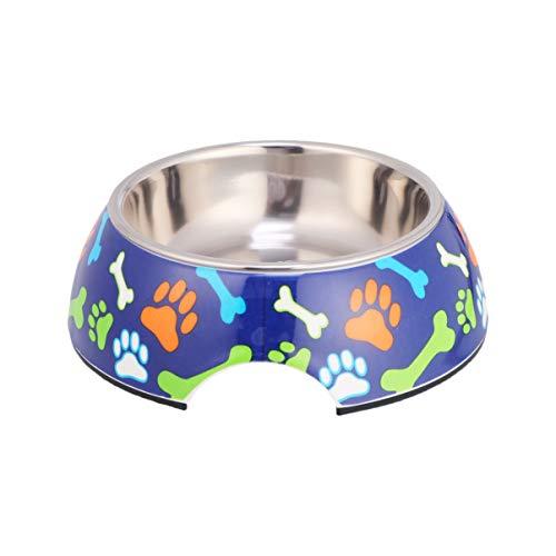 Balacoo Aufkleber Tiernahrung Futternapf praktische kreative Aufkleber sichere Futterschale Trinkschale Heimtierbedarf für Hundewelpen (blauer Hintergrund Knochenfüße Größe s)