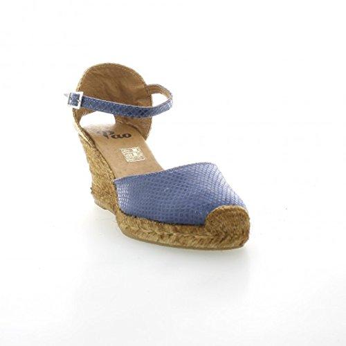 Pao Espadrille cuir serpent bleu Bleu