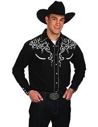 Mélange de coton pour homme Motif Brodé feuille Chemise Western
