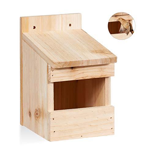 Relaxdays Halbhöhle Nistkasten, Vogelkasten zum Aufhängen, unbehandeltes Holz, Amsel, Flugloch, 20 x 12 x 15,5 cm, natur