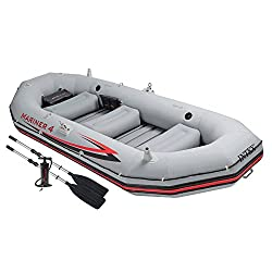 Intex Watersport's Mariner 4 Inflatable Dinghy Tender Boat with Paddles and Pump, Grey, 328 x 145 x48
