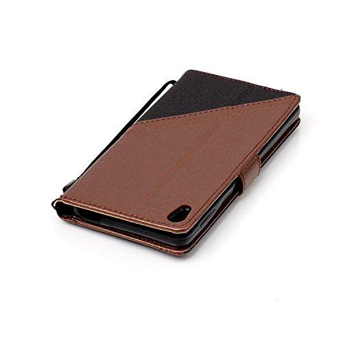 Custodia Xperia E5, ISAKEN Flip Cover per Sony Xperia E5 con Strap, Elegante borsa Tinta Unita Farfalla Design in Sintetica Ecopelle PU Pelle Protettiva Portafoglio Case Cover con Supporto di Stand /  nero+marrone
