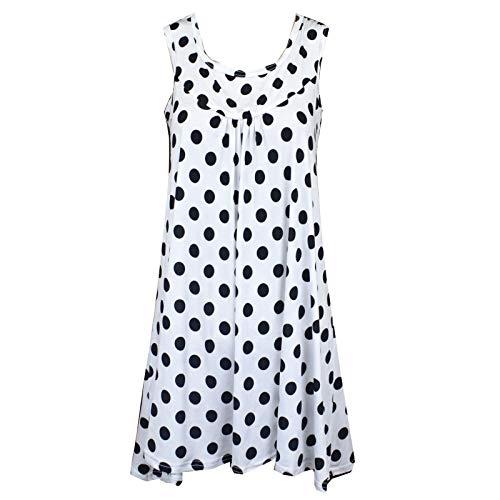 QingJiu Damen Bluse Tops ärmelloses Polka Dot Shirt Sommer Lange Frauen Hemd Sweatshirt Oberteil Wams -