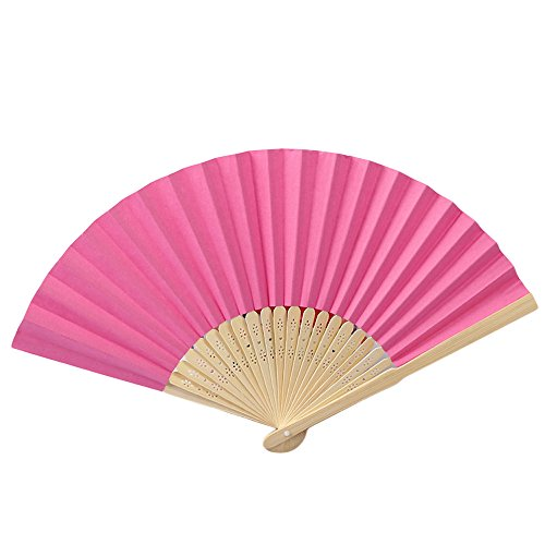 Janly Zuhause Werkzeuge,Muster Falttanz Hochzeit Party Lace Silk Folding Hand Solid Color Fan (Pink)