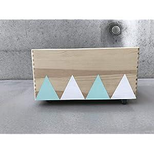 Holz Spielzeugkiste Weiß-Mint - Rollen Triangel skandinavisch