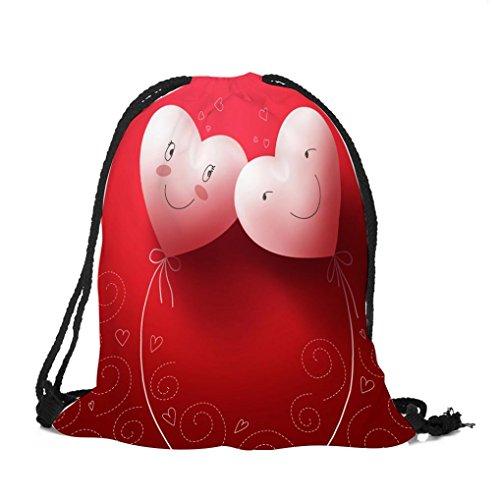 Gym Sack, Tasche mit Kordelzug, Basketball Rucksack, der Valentinstag*Manadlian wasserdicht, mit großer Reißverschlusstasche für Camping, Yoga, Wandern, Radfahren (Rot B)
