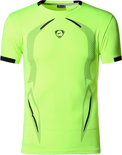 Jeansian Herren Sportswear Quick Dry Short Sleeve Men's Tee T-Shirt Tops Tshirt LSL187 GreenYellow M