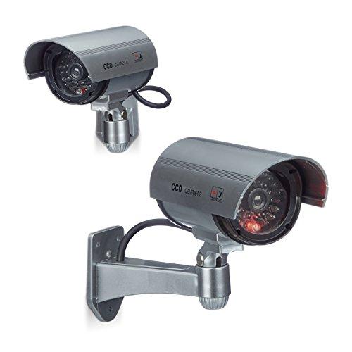 2 x Dummy Kamera im Sicherheits Set, CCD Kamera mit LED, schwenkbare Sicherheitskamera, für außen und innen, drahtlos