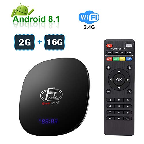 Greatlizard A95X F1 Android TV Box 2GB RAM 16GB ROM Android 8.1 Amlogic Ouad-Core 2.4GHz WiFi 4K 3D Smart TV Box (Android-tv-box)