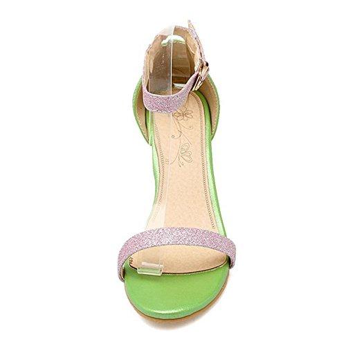 TAOFFEN Femmes Chaussures Mode Bout Ouvert Talons Hauts Aiguille Sandales De Boucle Vert