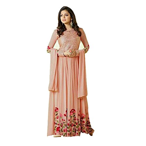 Saiyaji Suits Designer peach Color Georgette Embroidered Semi-stitched Anarkali Salwar Siuit, Festive & Wedding Wear Free Size Semi Stitch Salwar suit For Women  available at amazon for Rs.2099